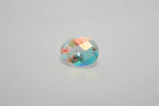 2.80ct White Sapphire Blue Orange Hues Absolutely Beautiful