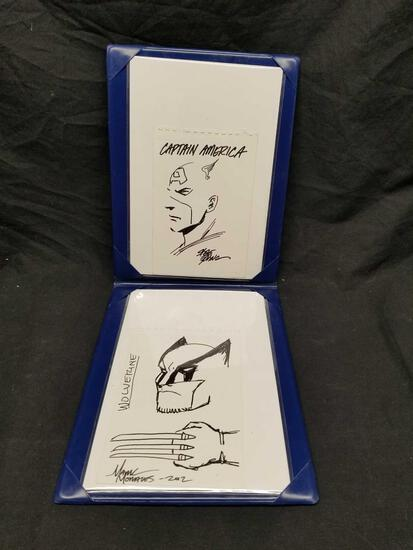 Signed Artist Drawings Captain America Wolverine