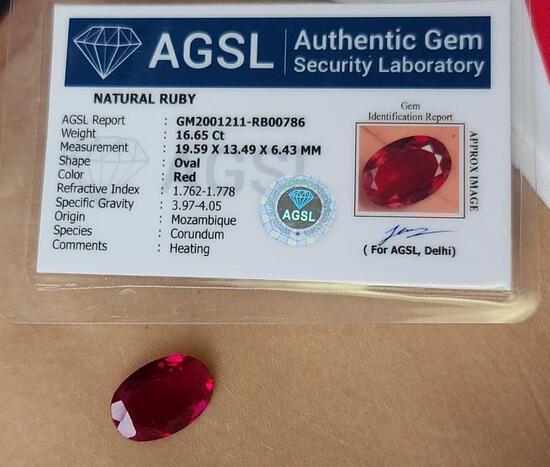 16.65ct Ruby Mogok Burma Massive Natural Mined Blood Red w/ Gem ID Card