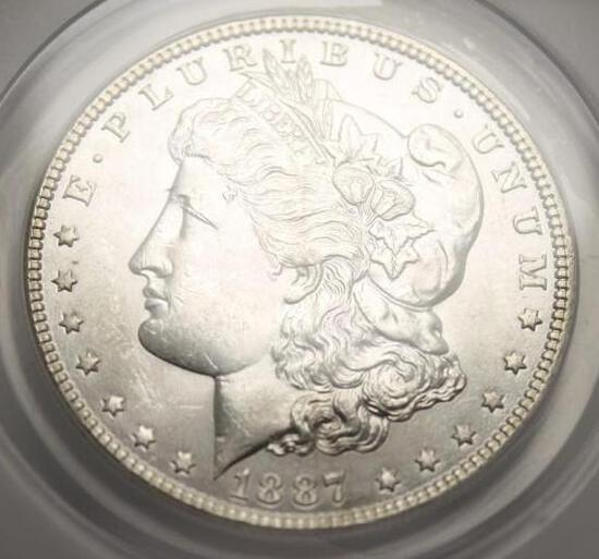 1887 Morgan Silver Dollar ANACS Certified MS63+ Satin White Beauty Blazing