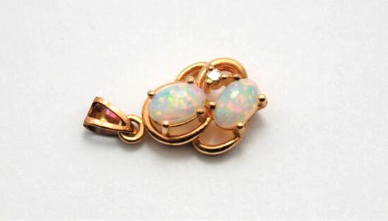 14K Pure Gold Australian Rainbow Opal & Diamond Pendant Gorgeous 3 Gem Stones