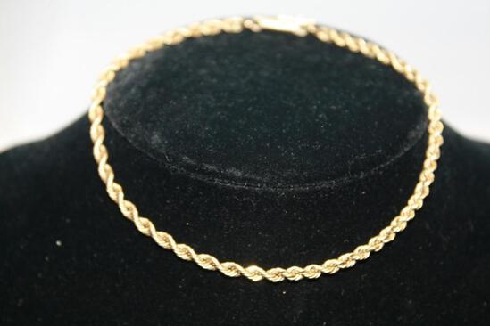 14kt Gorgeous Gold Bracelet Pure 14k Heavy Yellow Gold 5.8g Designer High End Twisted Rope