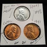 Antique Coin Trio - 1941 Copper Pennies, 1943 Steel Penny Cent