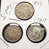 Antique Coin Trio, 1940 3 Pence, 1911 3 Pence, 1933 6 Pence