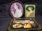 Vintage metal Coke Platters