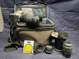 Pentax MZ-5 Camera with lenses and Metz 32 Z-2 mecablitz sca 3701 flash
