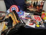 Comic Con Swag. Lucifer bag. Captain America backpack. Pamphlets pins