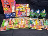 Pez lot. Pez popcorn boxes and pops boxes. Easter Hippity Hoppity Pez eggs.