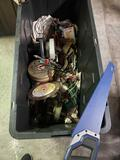 Lot of Tools. Black and Decker hand saw. Drill bit sharpner. Irwin saw drills and more