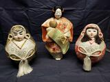 3 Unique Japanese Decrative Display Dolls.