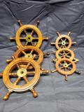 Decrative Ships Wheels. 3 larger and 3 smaller ones