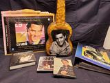Elvis Collection Metal poster. Plastic popcorn guitar. The cards of his life. Dvd.