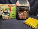 Igloo Backpack cooler. 2 pair XL waterproof pants. Coleman perfect flow Propane Stove