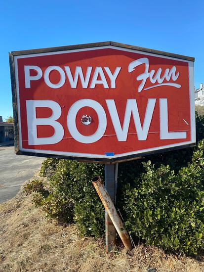 Poway fun bowl billiards Street sign 8ft wide 64in high