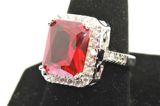 Ruby Ring Size 6 Giant Huge Ruby Gem Stone AAA 925 Sterling 6.63 Grams