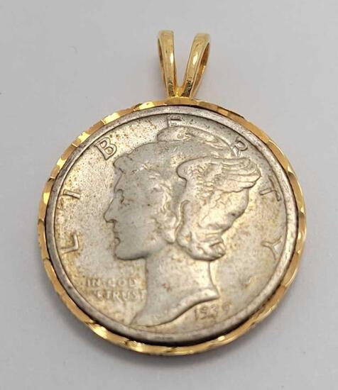 1939 liberty head dime mounted in 18k gold pendant