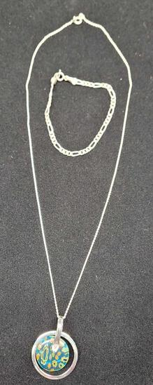 necklace and silver bracelet