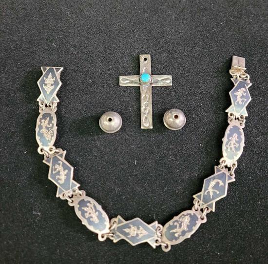 Silver bracelet and pendant