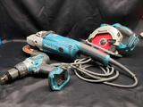 Makita Tools Rechargeable Drill and Circular skill saw with guide. Angle Grinder