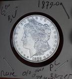 Morgan silver dollar 1879 o blazing Frosty bu pl o/o oval o top 100 vam