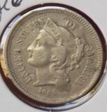 Three cent Nickel 1868 rare type coin full liberty high grade xf/au original