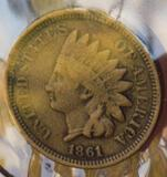 Indian cent nickel 1861 rare early year mint error clippled planchet
