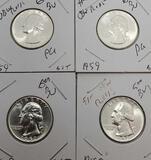 Washington silver quarters gem bu lot 4 coins from original roll 57&59 90% silver