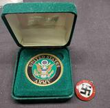 Nazi 3rd Riech pin 1933 and united states army postal service medal very old together in felt box