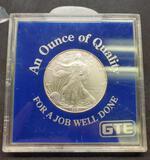 1999 Walking liberty silver dollar 1oz fine silver in plastic case