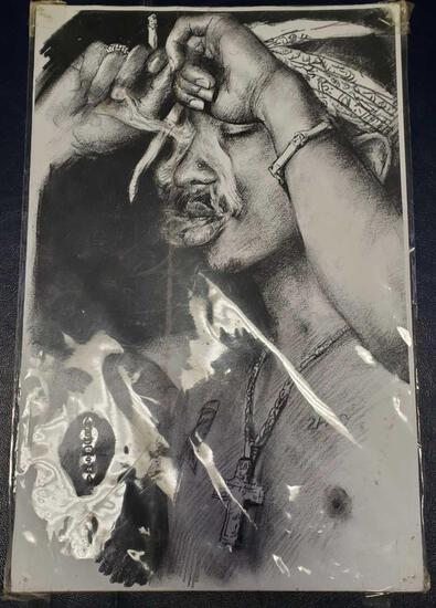 Tupac drawing on paper 17in tall 11in wide