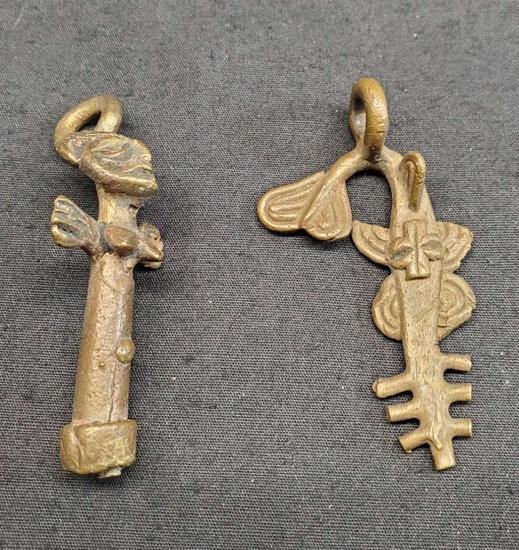 African Tribal Bronze Fish Amulet Pendant Necklace Charm