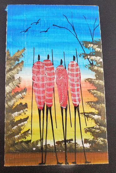 Kenyan African Art Hand-Painted Scene on canvas