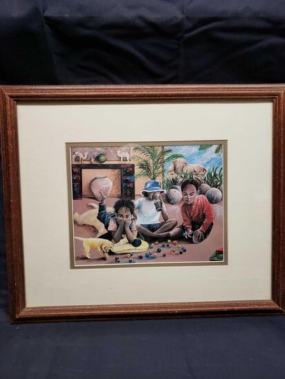 Kids at play framed pic. Small poster.The Classroom pic. And painting of boy.