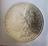 Morgan silver dollar 1886 O Frosty slider unc beauty slabed PQ original rare date