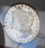 Morgan silver dollar 1885 s Frosty white unc nice luster original better date