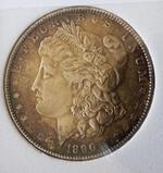 Morgan silver dollar 1890 P Gem bu blazing luster pastel rainbow beauty