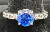 Sapphire & Topaz ring new 925 sterling silver with 1 to 2ct round gemstone center royal blue Size 7