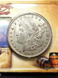 Morgan silver dollar 1921 Frosty bu sealed in plastic wagon trains series 90% silver dollar