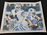 Dallas Cowboys Signed Print R. P. Meurer 20in Wide