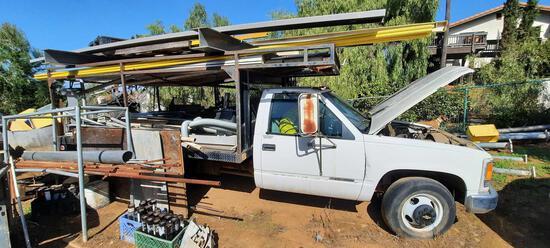 2000 Chevy C3500 Silverado Dually Flatbed Work Truck w/ Contents