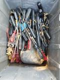Crate Full of Hand Tools Screwdrivers