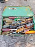 Metal Tool Box Full of Screwdrivers