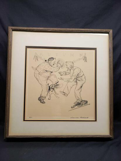 Framed and Matted Artwork says Autumn by Norman Rockwell a/p