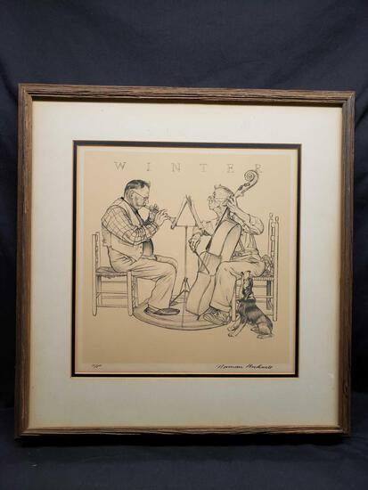 Framed and Matted Artwork says Winter by Norman Rockwell a/p