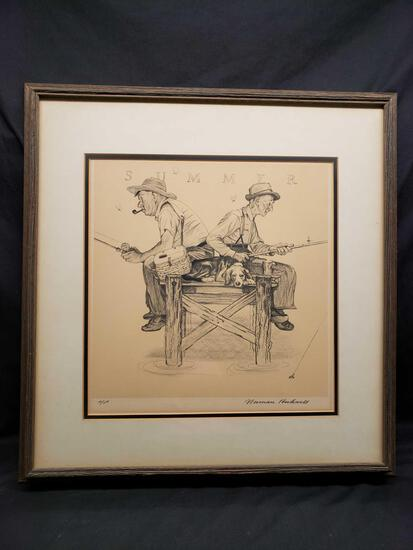 Framed and Matted Artwork says Summer by Norman Rockwell a/p