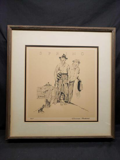 Framed and Matted Artwork says Spring by Norman Rockwell a/p