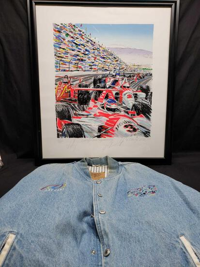 Framed Artwork says California Speedway and has Non Authenticated signatures Al Unser Jr. And more.