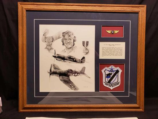 Beautiful Framed Tribute to Lt. Col. Greg 'Pappy' Boyinton USMC