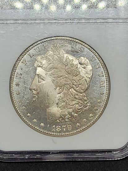 Morgan silver dollar 1879-s MS46 Graded Frosty slab