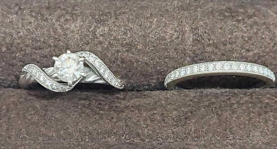 22kt white gold diamond wedding ring set